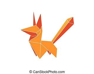 marrom, colorido, raposa, isolado, experiência., vetorial, origami, branca