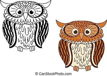 marrom, colorless, pássaros, caricatura, coruja