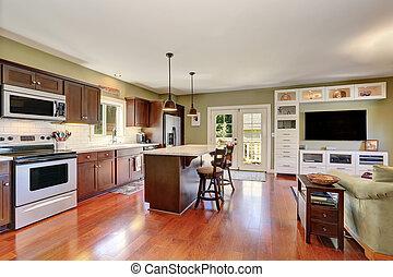 marrom, combinação, armazenamento, profundo, plano, interior, abertos, cozinha