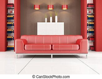 marrom, contemporâneo, sala, vermelho, vivendo