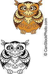 marrom, coruja, stylized, retro, pássaro, mascote