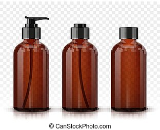 marrom, cosmético, garrafas, isolado, ligado, transparente,...