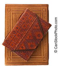marrom, couro, dois, livros, diário, vermelho