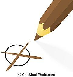 marrom, crucifixos, lápis