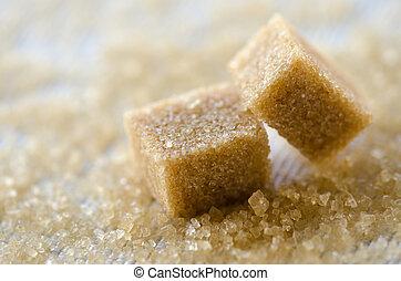 marrom, cubos, açúcar