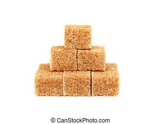 marrom, cubos, isolado, açúcar