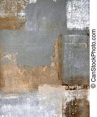marrom, e, cinzento, arte abstrata