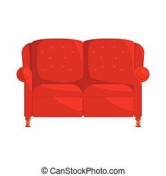 marrom, estilo, ícone, caricatura, sofá