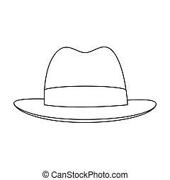marrom, estilo, illustration., ícone, investigador, símbolo, esboço, único, vetorial, estoque, chapéu, brim., headdress, cover.detective