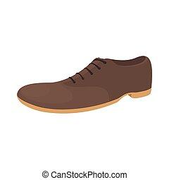 marrom, estilo, sapato, ícone, macho, caricatura
