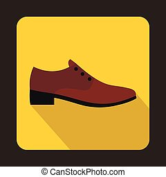 marrom, estilo, sapato plano, ícone, macho