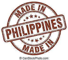 marrom, feito, grunge, selo, filipinas, redondo