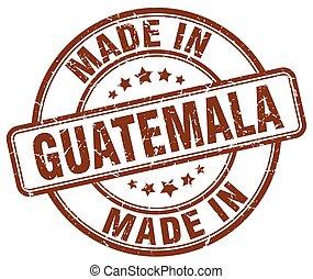 marrom, feito, grunge, selo, guatemala, redondo