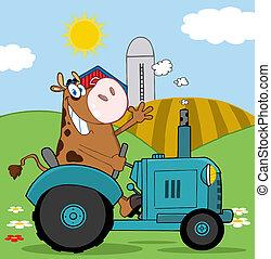 marrom, feliz, vaca, agricultor