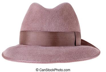 marrom, feltro, chapéu, fedora, homem