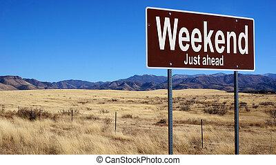marrom, fim semana, sinal estrada
