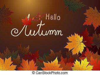 marrom, folhas, ilustração, outono, vetorial, fundo, maple