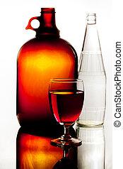marrom, garrafa copo, branco vermelho, vinho
