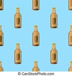 marrom, garrafas, padrão, seamless, vidro, cerveja