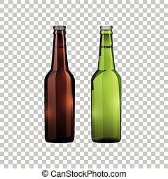 marrom, garrafas, realístico, objeto, isolado, ilustração, vidro, cerveja, vetorial, verde, experiência., transparente