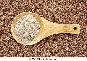 marrom, grão, teff, farinha