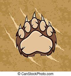 marrom, grunge, urso, fundo, pata