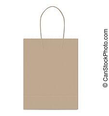 marrom, gusset, shopping, fundo, corda, saco, cabos, papel, kraft