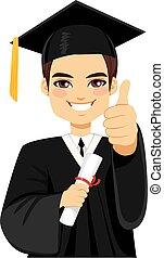 marrom, haired, graduação, menino
