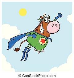 marrom, herói, vaca, voando, personagem, super, caricatura, mascote