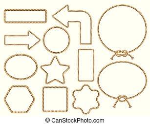 marrom, illustration., quadro, corda, vetorial, set.