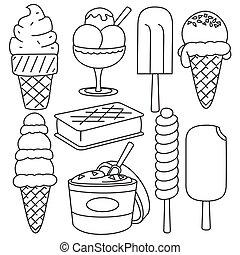 marrom, illustration., set., gelo, mão, apoplexia, desenhado, creme