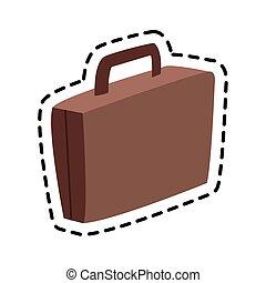 marrom, imagem, mala, ícone