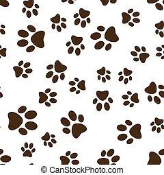 marrom, impressões, pata, padrão, cão, gato, vetorial, seamless, ou