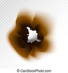 marrom, isolado, papel, fundo, buraco, queimado, transparente