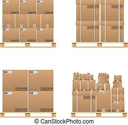 marrom, jogo, entrega, caixas, fechado, caixa papelão
