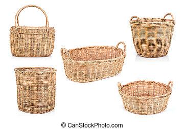 marrom, jogo, feito à mão, isolado, rattan, fundo, cesta, branca