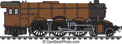 marrom, locomotiva clássica, vapor