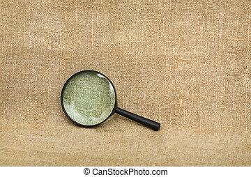 marrom, lona, antigas, fundo, magnifier