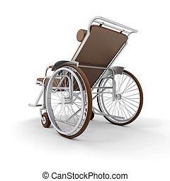 marrom, longue, b, cadeira rodas, costas, chaise, vista