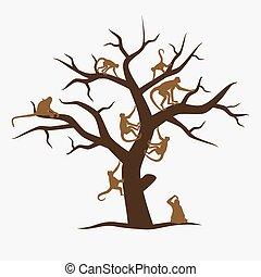 marrom, macaco, árvore, com, muito, de, macacos, eps10