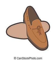 marrom, macho, sapatos, clássicas