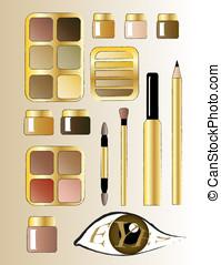 marrom, maquiagem olho