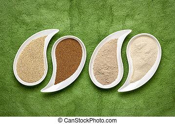 marrom, marfim, grão, teff, farinha
