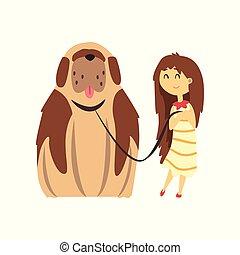 marrom, menininha, cute, animal estimação, grande, cão, andar, ilustração, vetorial, fundo, proprietário, branca, seu