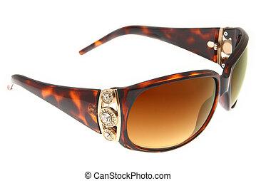 marrom, moda, óculos de sol, isolado, fundo, branca