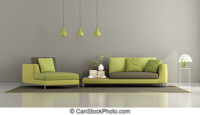 marrom, modernos, verde, sala, vivendo
