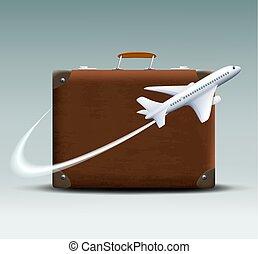 marrom, moscas, ao redor, avião, mala, branca