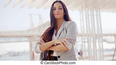marrom, mulher, cabelo longo, confiante, atraente
