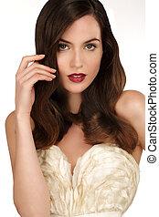 marrom, mulher, cabelo ondulado, elegante, closeup