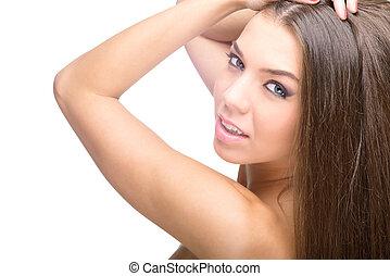 marrom, mulher, hair., longo, bonito